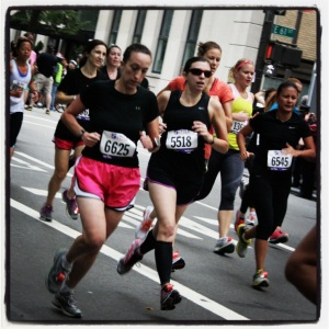 Liz Ronk running the 5th Ave Mile in New York City