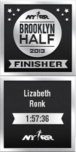Brooklyn Half Marathon 2013 Finishers Badge Lizabeth Ronk