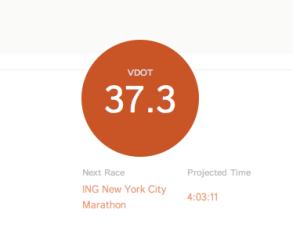 Vdot time for the New York City ING Marathon 2013