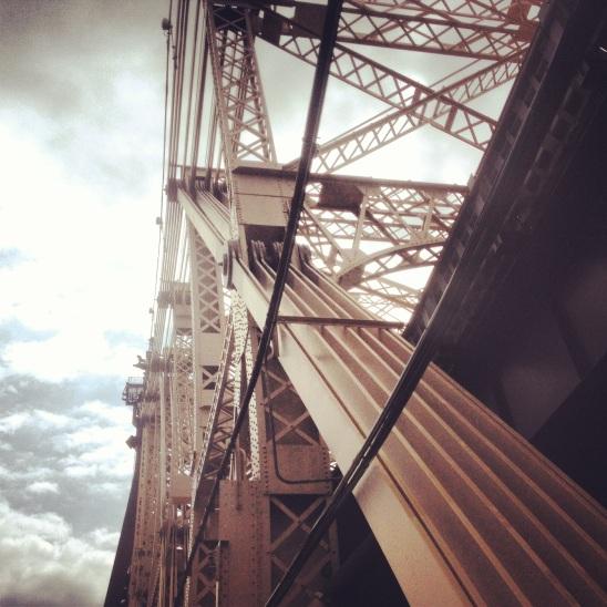 running across the queensboro bridge in new york city