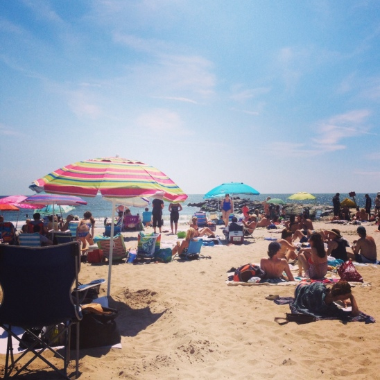 late summer day at Far Rockaway beach in new york city