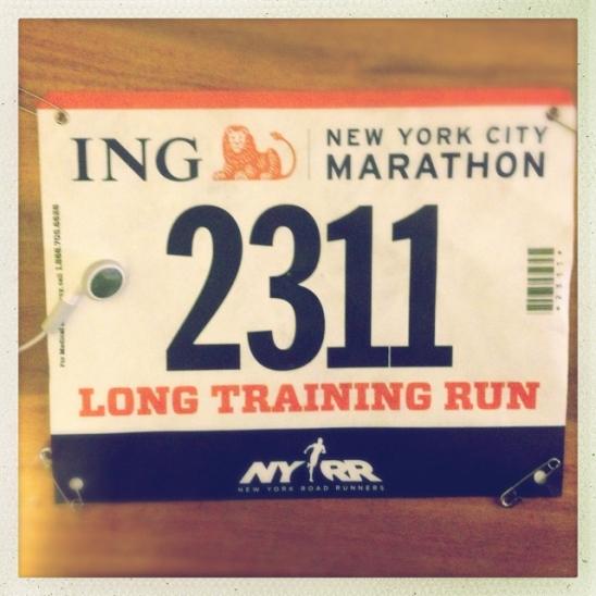 NYRR ING New York marathon long training run bib, central park