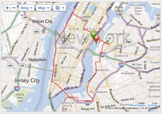 map of new york city showing the 3 bridges run