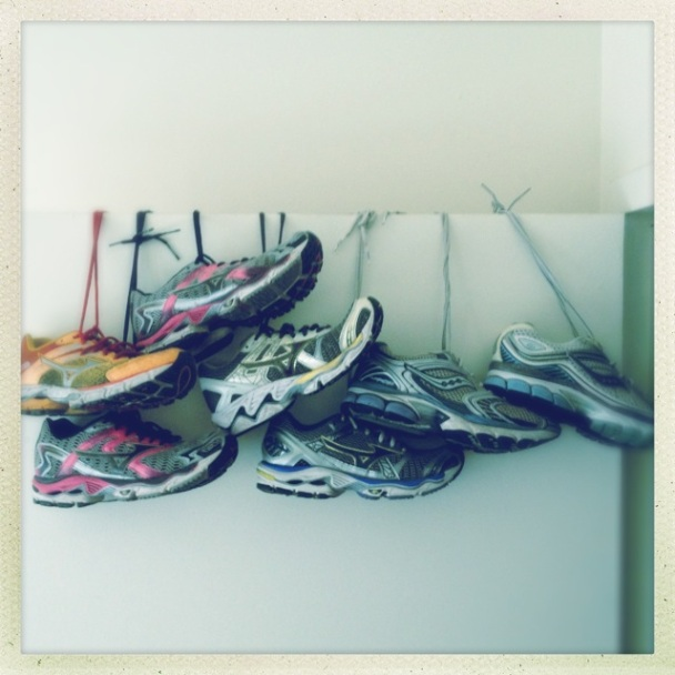 used up mizuno and saucony running sneakers