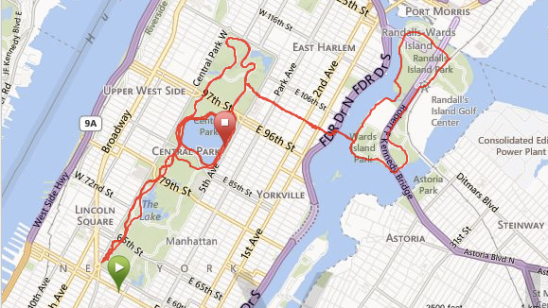 20 mile run around new york city for ING Marathon training