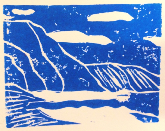 block print based on a photograph from Oahu, Hawaii... 1/2013